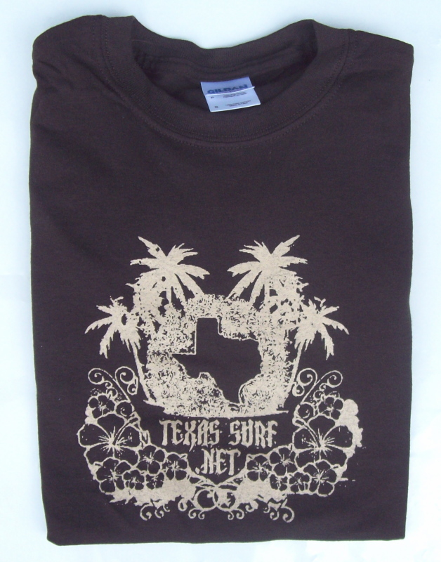 Show your Texas Surfing pride! Shown in Tan on Brown
